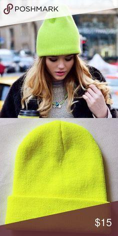 - ̗̀ SALE  ̖́- Unisex neon yellow beanie - ̗̀ SALE  ̖́- Unisex neon yellow beanie Madewell Accessories Hats