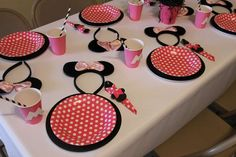 Party table at a Minnie Mouse party! See more party planning ideas at CatchMyParty.com!