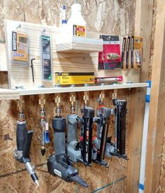 """I put the finishing touches on my french cleat air tool rack that uses old an. ""I put the finishing touches on my french cleat air tool rack that uses old and worn out quick di Garage Tool Storage, Van Storage, Workshop Storage, Garage Tools, Garage Workshop, Shed Storage, Storage Ideas, Trailer Shelving, Trailer Storage"