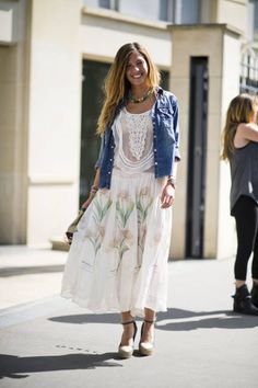 Paris Street Style - Her shoes showcase the beauty of her dress; allowing it to flutter near her ankles.