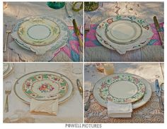The Mismatched Vintage Plate Vortex :  wedding decor Use white plates rimmed with gold from vendor, then purchase various vintage salad plates to serve cake on