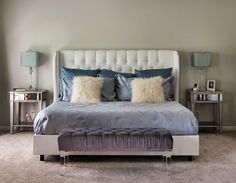 Karen Mills - White Wing Back Tufted Bed, Acrylic Leg Bench, Mirrored Nightstands, Blue
