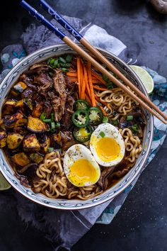 Crockpot Crispy Caramelized Pork Ramen Noodle Soup w-Curry Roasted Acorn Squash…