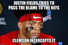 Sec Football, College Football, Justin Fields, Clemson Tigers, Lol, Baseball Cards, Funny, Collage Football, Ha Ha