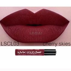 Cherry skies NYX lipstick NYX liquid suede lipstick in cherry skies. Swatched one and I don't like it! I just want to get the money back I bought it for! If you want to buy but want low shipping please let me know. NYX Makeup Lipstick