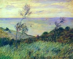 The Cliffs of Varengeville, Gust of Wind - Claude Monet 1882 Impressionism Claude Monet, Pierre Auguste Renoir, Post Impressionism, Impressionist Paintings, Monet Paintings, Landscape Paintings, Landscapes, Artist Monet, Art Japonais