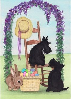 Scottish Terriers (scotties) are ready for Easter / Lynch signed folk art print