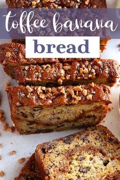 Greek Yogurt Banana Bread, Easy Banana Bread, Banana Bread Recipes, Toffee Bits, Salted Caramel Sauce, Loaf Recipes, Loaf Cake, Bourbon