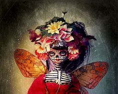 Beautiful Mortal Dia De Los Muertos Death Princess Doll Canon PRINT 587 Reproduction by Michael Brown