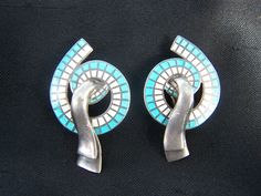 Earrings   Margot De Taxco.   Sterling Silver with blue and white enamel.  ca. pre 1960.