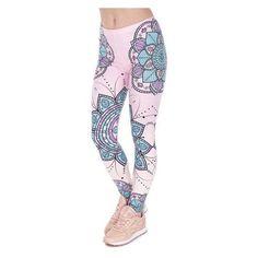 Mandala Lotus Flower Leggings ❤ liked on Polyvore featuring pants, leggings, pink pants, pink yoga leggings, pink trousers, pink leggings and flower yoga pants