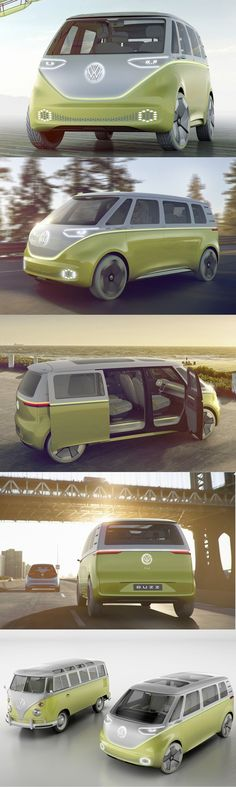 2017 VW I.D. Buzz / concept / autonomous / electric / MPV / Germany / yellow white
