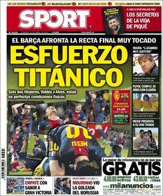 Los Titulares y Portadas de Noticias Destacadas Españolas del 14 de Abril de 2013 del Diario Deportivo SPORT ¿Que le parecio esta Portada de este Diario Español?