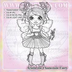 Chamomile Faery Fae Fairy Friend UNCOLORED Digital Stamp Image