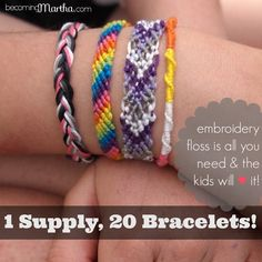 Post includes 20 great friendship bracelet tutorials and patterns that are all created with one supply - embroidery floss. So great as a summer activity for the kids!
