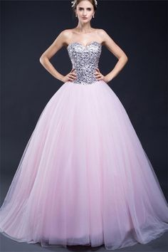 Ball Gown Sweetheart Light Pink Tulle Sequin Beaded Prom Dress Corset Back