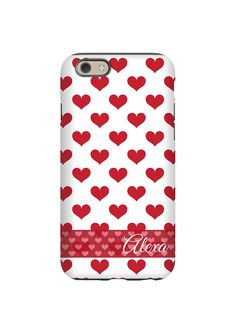 Red Hearts Personalized iPhone Case