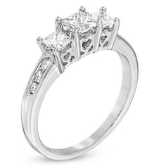 1 CT. T.W. Princess-Cut Diamond Three Stone Past Present Future Ring in 14K White Gold - Zales