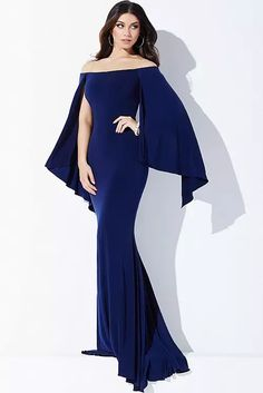 Navy Long Sleeve Fitted Prom Dress 21799