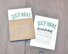 Free Download: Hey Girl Bridesmaid Cards