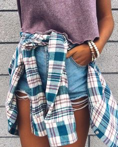 Flannel outfits summer, plaid shirt outfit summer, spring outfits, casual o Spring Summer Fashion, Spring Outfits, Flannel Outfits Summer, Outfit Summer, Looks Style, Style Me, Only Shorts, Outfit Goals, Outfit Ideas