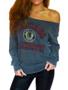 Chicago Blackhawks Off Shoulder Raw-edged Sweatshirt