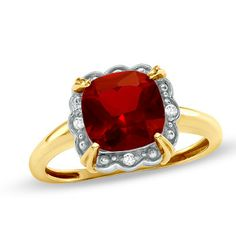8.0mm Cushion-Cut Lab-Created Ruby and Diamond Accent Framed Ring in 10K Gold