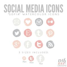 Watercolor Social Media Icons for Blog  Web - Sofia INSTANT DOWNLOAD. $6.00, via Etsy.