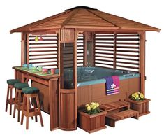 hottub surround with bar plans | ... walls and a bar pack. Also shown with optional steps and planters
