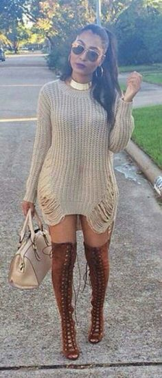 Cute knitted dress, high heels                                                                                                                                                                                 More