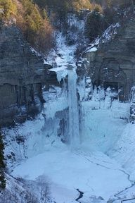 Taughannock Falls in Winte, Trumansburg, New York
