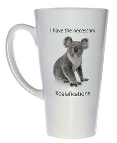 Now if I could only learn to love eucalyptus leaves... Technicam notitia (the technical bits) - Mug holds 17oz / 500ml of your favorite hot or cold beverage. - White exterior and interior. - Lead free