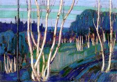dappledwithshadow:  Silver Birches, Tom Thomson, 1915.                                                                                                                                                     More