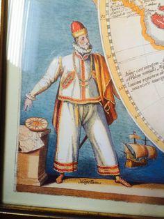 Mariner (Magellan) detail from a world map, ca. Mens Garb, Pirate Garb, Sailor Outfits, Twelfth Night, Sailors, 16th Century, Warfare, Maid, Pirates