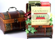 Beyond Graduation Gift Basket-Beyond Graduation Gift Basket A wonderful gift that offers a keepsake trunk filled with a variety of gourmet food gifts Holiday Gift Baskets, Easter Gift Baskets, Chocolate Drizzled Popcorn, Unique Gifts, Best Gifts, Wooden Trunks, Wine Baskets, Chocolate Gifts, Graduation Gifts
