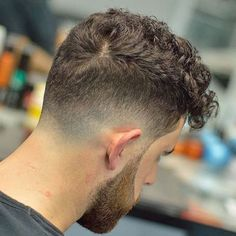 Low Taper Fade with Curly Fringe and Beard