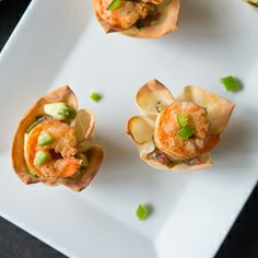 Light, healthy and spicy Tequila Shrimp and Salsa in Wonton Cups! With sour cream and jalapenos they