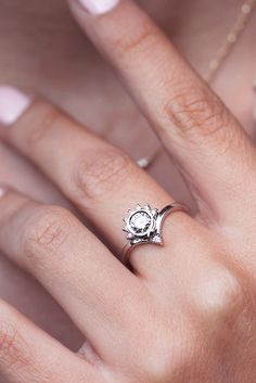 Unique indi bride diamond engagement ring - white gold. half carat center diamond handmade bi silly shiny diamonds ! PERFECT ENGAGEMENT RING - boho bride.