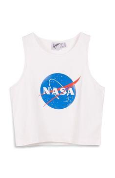 Primark - Witte korte top met NASA-print
