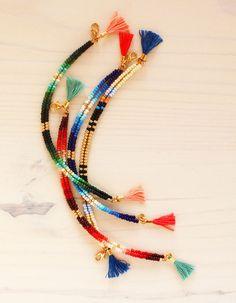 Friendship Bracelet Beaded Bracelet Tassel by feltlikepaper