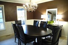 gorgeous dining room; I love the table and chairs, and the chandelier
