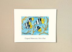 "Fish, Painting of Tropical Fish, Watercolor, 5x7 Original, Whimsical, Yellows & Blues, Titled ""Undersea Fun"" #2, in an 8x10 Mat, NOT A PRINT"