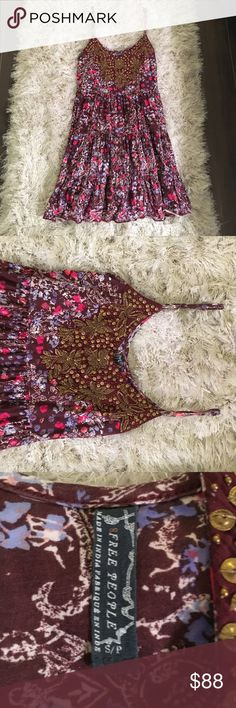 Free People dress  Worn once in absolutely perfect condition  beautiful gold detail - adjustable straps! Free People Dresses