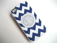 iphone case - Navy Blue and White Chevron iPhone 4 Case with Gray Monogram  - iPhone 4 4S Cover