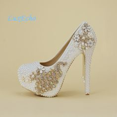 208438498607a9 Crystal wedding shoes pearl handmade bridal shoes women s Pumps peacock  rhinestone female high heels platform shoes big size-in Women s Pumps from  Shoes on ...