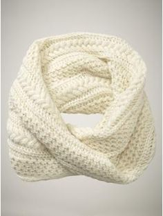 cable knit infinity scarf in white