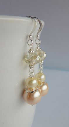 Peach Cream and Champagne Bridesmaids Earrings Pearl and Crystal Silver Wedding by Sarahkayejewelry2, $8.50