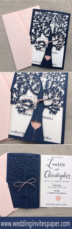 navy blue laser cut blush pink wedding invitations/ modern wedding invitations