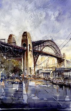 Cities ‹ Paintings Categories ‹ My Online Art Gallery Art Watercolor, Watercolor Landscape, City Painting, Painting & Drawing, Watercolor Architecture, Draw On Photos, Australian Art, Sydney Harbour Bridge, Ink Art