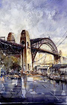 Tony Belobrajdic   WATERCOLOR Sydney Harbour Bridge